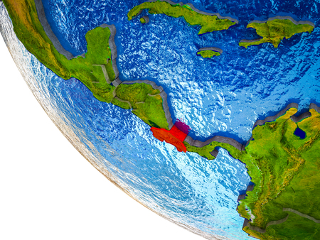Costa Rica on model of Earth with country borders and blue oceans with waves. 3D illustration.