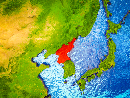 North Korea on model of 3D Earth with blue oceans and divided countries. 3D illustration. Stok Fotoğraf - 109754387