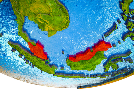 Malaysia on 3D Earth with divided countries and watery oceans. 3D illustration. Stok Fotoğraf