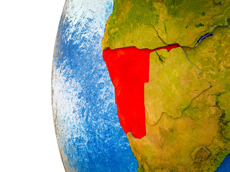 Namibia highlighted on 3D Earth with visible countries and watery oceans. 3D illustration. Фото со стока