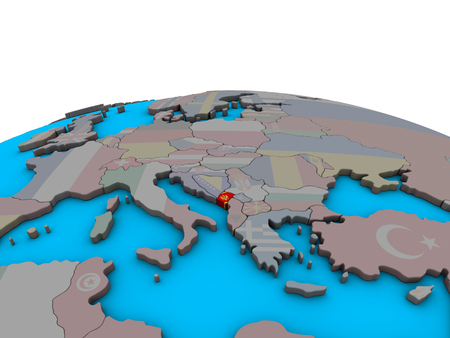 Montenegro with embedded national flag on political 3D globe. 3D illustration.