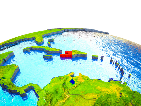 Haiti on 3D Earth with visible countries and blue oceans with waves. 3D illustration.