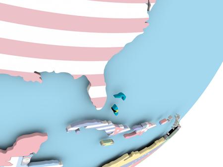 Illustration of Bahamas on political globe with embedded flag. 3D illustration.