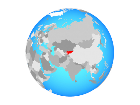 Kyrgyzstan on blue political globe. 3D illustration isolated on white background.