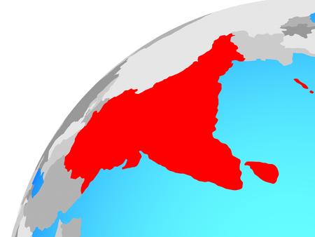 South Asia on globe. 3D illustration.