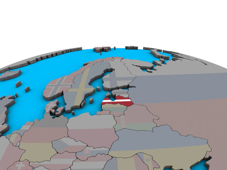Latvia with embedded national flag on political 3D globe. 3D illustration.