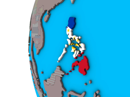 Philippines with national flag on blue political 3D globe. 3D illustration. Stock Illustration - 109754726