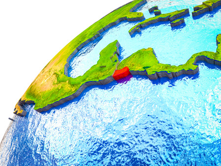 El Salvador on 3D Earth model with visible country borders. 3D illustration.