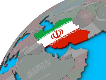 Iran with national flag on 3D globe. 3D illustration. Stockfoto