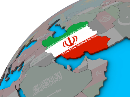 Iran with national flag on 3D globe. 3D illustration. Stock Photo