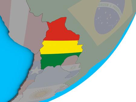 Bolivia with national flag on blue political 3D globe. 3D illustration.