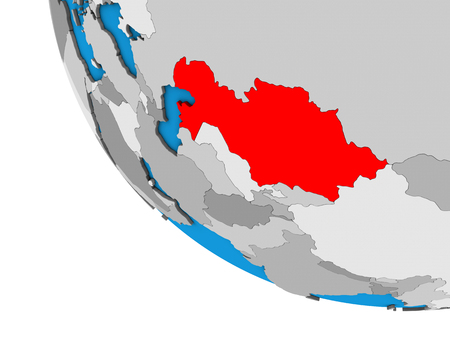 Kazakhstan on simple 3D globe. 3D illustration.