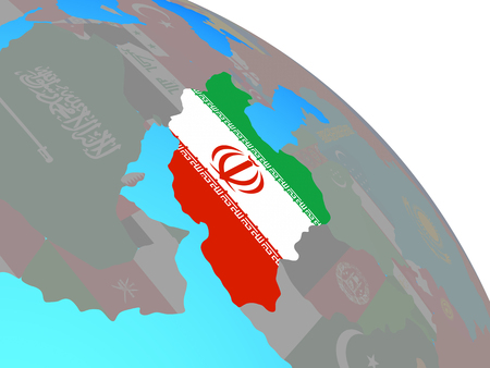 Iran with national flag on simple blue political globe. 3D illustration.