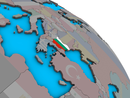 Bulgaria with embedded national flag on simple blue political 3D globe. 3D illustration.