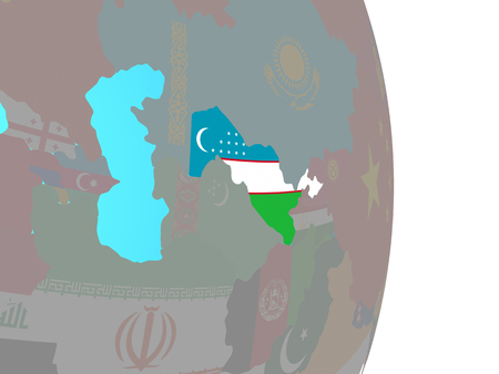 Uzbekistan with national flag on simple political globe. 3D illustration.