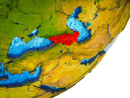 Caucasus region on 3D model of Earth with water and divided countries. 3D illustration.