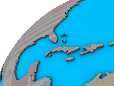 Bahamas with national flag on 3D globe. 3D illustration.