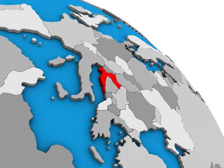 Croatia on simple blue political 3D globe. 3D illustration.
