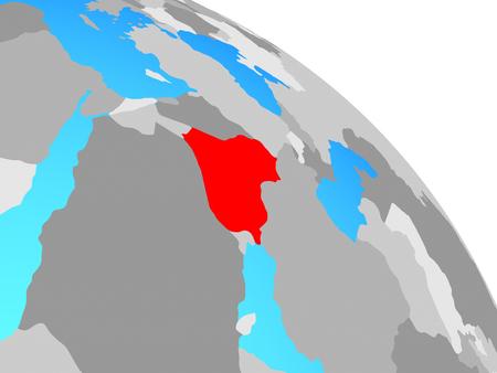 Iraq on simple blue political globe. 3D illustration. Stockfoto