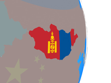 Mongolia with national flag on simple political globe. 3D illustration.