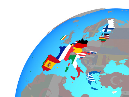 Eurozone member states with embedded national flags on globe. 3D illustration.