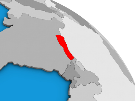 Nepal on simple blue political 3D globe. 3D illustration.