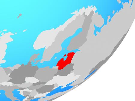 Baltic States on blue political globe. 3D illustration.