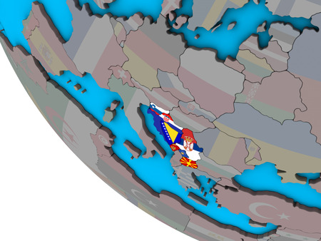 Former Yugoslavia with embedded national flags on simple 3D globe. 3D illustration.