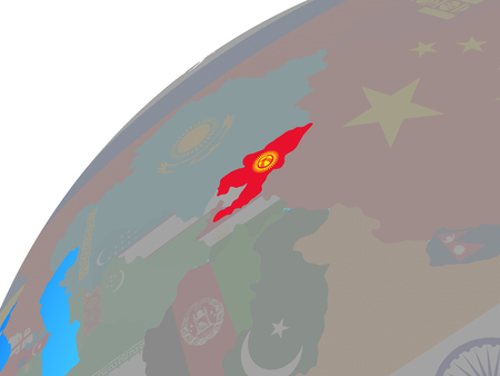 Kyrgyzstan with embedded national flag on globe. 3D illustration.