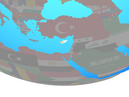 Cyprus with national flag on simple political globe. 3D illustration.