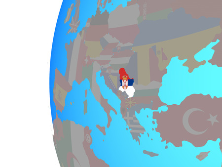 Serbia with embedded national flag on blue political globe. 3D illustration.