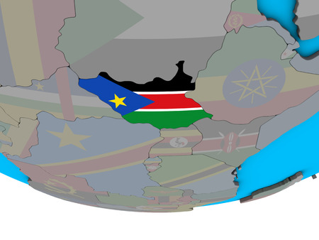 South Sudan with embedded national flag on simple political 3D globe. 3D illustration.