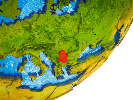 Serbia on 3D model of Earth with water and divided countries. 3D illustration.