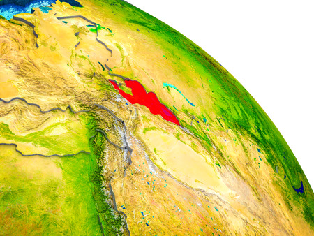Kyrgyzstan Highlighted on 3D Earth model with water and visible country borders. 3D illustration. Stock Photo