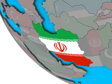 Iran with embedded national flag on simple 3D globe. 3D illustration. Stockfoto
