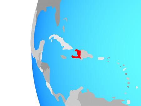 Haiti on blue political globe. 3D illustration.