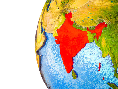 India highlighted on 3D Earth with visible countries and watery oceans. 3D illustration.
