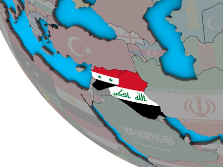 Islamic State with embedded national flags on simple 3D globe. 3D illustration. Banco de Imagens
