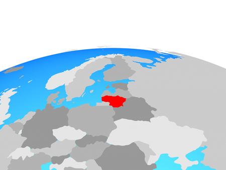 Lithuania on political globe. 3D illustration.