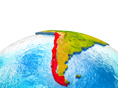 Chile on 3D Earth with visible countries and blue oceans with waves. 3D illustration. Stock Photo