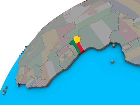 Benin with national flag on 3D globe. 3D illustration.