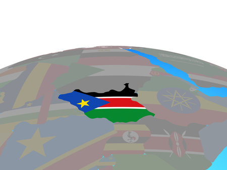 South Sudan with national flag on political globe. 3D illustration.