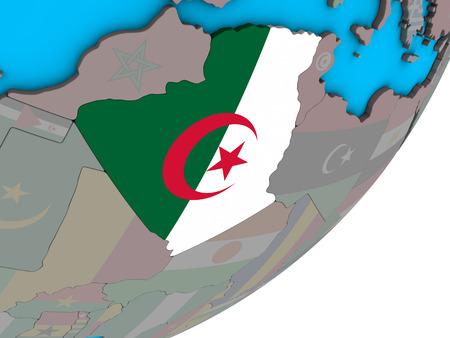 Algeria with national flag on blue political 3D globe. 3D illustration. Stock Photo
