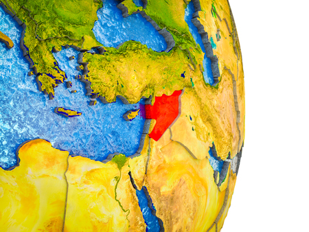 Syria on 3D model of Earth with divided countries and blue oceans. 3D illustration. Stock Photo