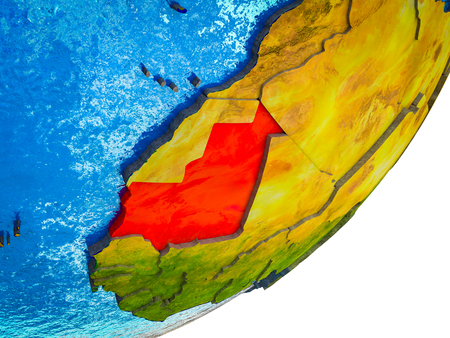 Mauritania on 3D model of Earth with water and divided countries. 3D illustration. Фото со стока