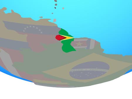 Guyana with national flag on simple political globe. 3D illustration.