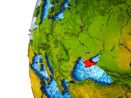 Crimea highlighted on 3D Earth with visible countries and watery oceans. 3D illustration.