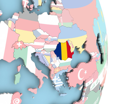 Romania with embedded flag on globe. 3D illustration. Imagens
