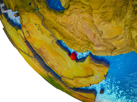 Qatar on model of Earth with country borders and blue oceans with waves. 3D illustration.