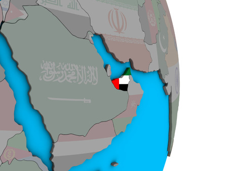 United Arab Emirates with embedded national flag on simple political 3D globe. 3D illustration.